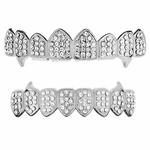Silver 8/8 Iced-Out Fang Set