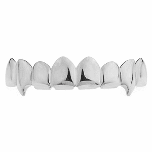 Silver 8 Tooth Top Teeth Fang Grillz
