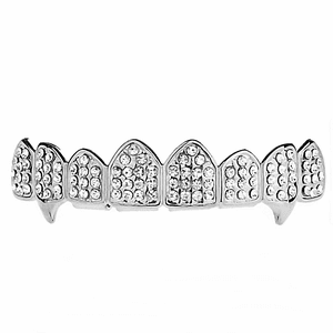 Silver  8 Top Iced-Out Fang Grillz