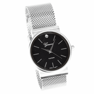 Silver & Black Flat Band Hip Hop Watch