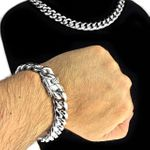 "Silver Steel 14MM x 18"" Chain & Bracelet"
