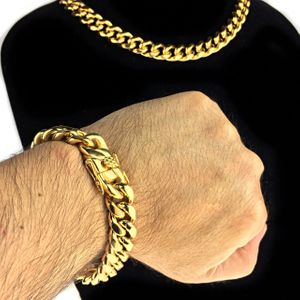 "Gold Steel 14MM x 18"" Chain & Bracelet"