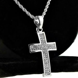 Micro Silver Curved Cross Rope Chain