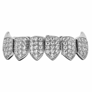 Silver CZ  Bottom Teeth Fang Grillz