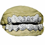Silver Diamond-Cut Dust Custom Grillz