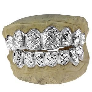 Silver Diamond-Cut Diamond Dust Custom Grillz