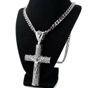 Huge Silver Cross Crucifix Chain 30""