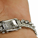 """Silver Iced-Out Bracelet 8mm x 8"""""""