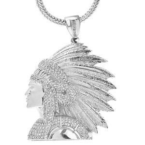 "Silver Indian Chief Head 36"" Chain"