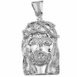 Silver Jesus Head Iced-Out Pendant