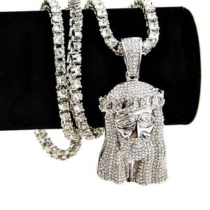 "One-Row Silver 24"" Jesus Chain"