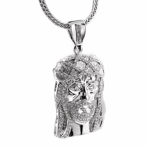"Jesus Head Silver 36"" Franco Chain"