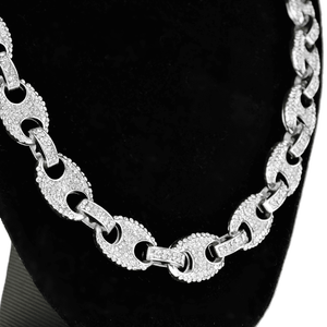 Silver Mariner Links Bling Chain 24""