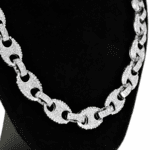 Silver Mariner Iced-Out Chain 18""