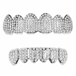 Silver Micro Pave Bling Grillz Set