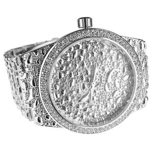 Mens Silver Nugget Design Watch
