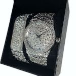 Mens Silver Nugget Watch & Bracelet