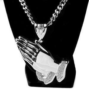 Huge Silver Praying Hands Chain 30""