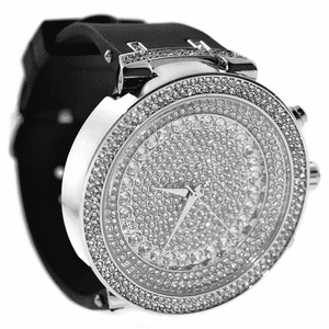 Silver Round Micro Pave Hip Hop Watch