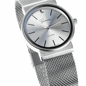 Silver /Silver Flat Band Hip Hop Watch