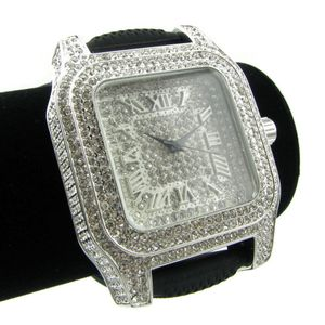 Silver Big Square Hip Hop Watch