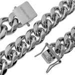 "Silver St.  Steel 18"" x 14MM Cuban Chain"