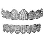 Silver CZ 8/8 Teeth Iced Grillz Set