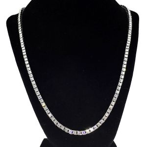 "One-Row Silver 24"" Tennis Chain"
