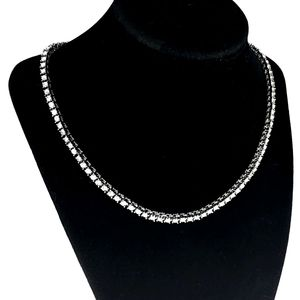 "One-Row Silver 18"" Choker Tennis Chain"