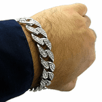 Silver Tone Full Iced-Out Bracelet