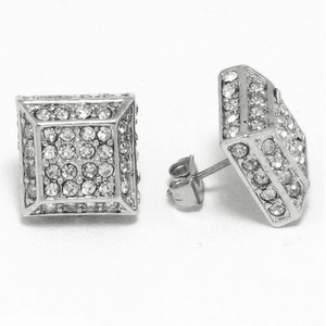 Pyramid Square Silver Earrings