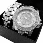 Roman Numerals Silver Watch Set