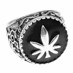 Silver Tone Weed Leaf Ring