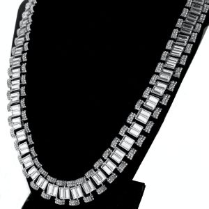"""Silver Watch Link Baguettes Chain 24"""""""
