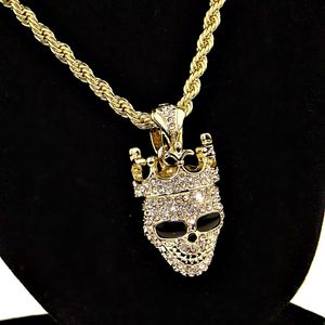 Crown Skull Gold Rope Chain 24""