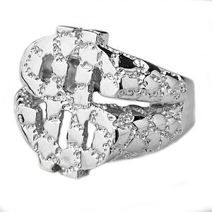 925 Silver Nugget Dollar Sign Ring