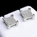 Square 925 Silver 8MM Earrings