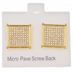 Square Gold 16MM Screw Earrings