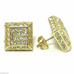 Pyramid Square Gold Earrings 13MM