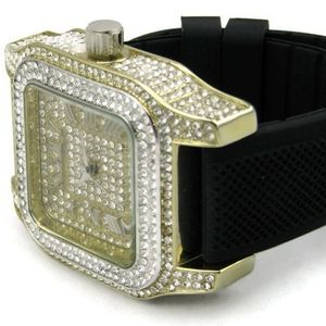 Gold Big Square Bling Watch