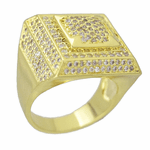 Gold Square CZ Ring 20x20MM