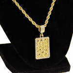 Square Nugget Gold Rope Chain 24""
