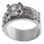 Silver Tone Round Cut Ladies Ring