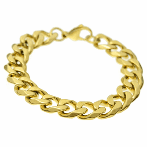 St. Steel 13MM Gold Bracelet 8.5""