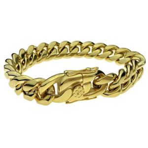 "Gold St. Steel Bracelet 8.5"" x 14MM"