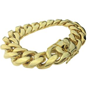 "Gold St. Steel Bracelet 8.5"" x 18MM"