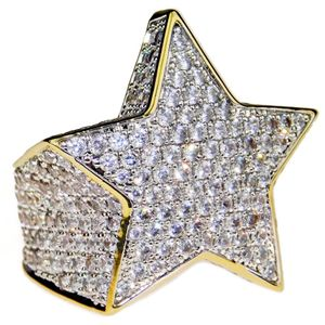 Star Two-Tone CZ Iced-Out Ring