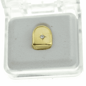 Gold CZ Single Stone Top Tooth Cap