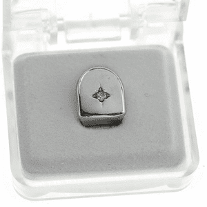 Silver CZ Single Stone Top Tooth Cap