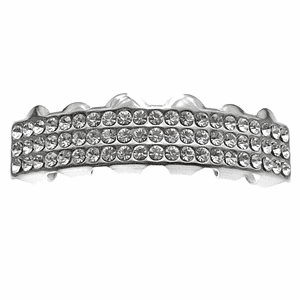 Silver 3 Row Bling Top Teeth Grillz
